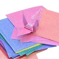 50st multi storlek kvadratisk origami papper ensidig glitter vikning solida färgpapper för barn handgjorda carft diy scrapbooking