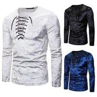 Vendaje camisetas Casual Tie sexy danza noche club t shirt fitness manga larga o-cuello masculino bar jacobite ghillie homme top tees1