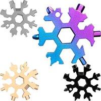 Снежинка Мульти Инструмент 18 в 1 Снежинка ключ Мультитул открывалки нескольких ключевых кольцо велосипед Fix Tool Christmas Snowflake Gift FY7312