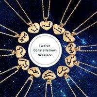Двенадцать созвездий Ожерелье Оригинальность Универсальная бумажная карта Любовь в форме сердца цепи Мода Choker Ювелирные изделия Аксессуары 2 38YH O2