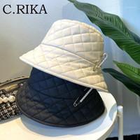 Sonbahar Kış Kadınlar Elmas Pin Kova Şapka Bob PU Deri Punk Lady Kız Moda Katı Balıkçı Şapka Kore Havzası Panama1
