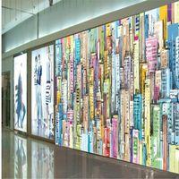 Новое искусство 3D стереоскопические обои ручной росписью городской роспись маслом фоновая стена украшения росписью1