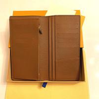 ¡Envío gratis! Cartera de cuero genuino de embrague de moda con caja de polvo bolso mujeres hombres monedero imágenes reales al por mayor barato 62665