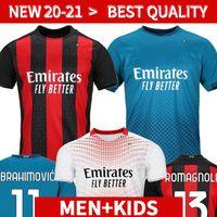 AC Milan 20 21 Jersey de football Ibrahimovic Paquetta Bennacer Romagnoli Calhanoglu 2020 2021 Chemise de football Tonali Rebic Maillot Men + Kit Kit