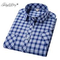 Davydaisy 새로운 도착 남자 셔츠 남자 여름 반팔 패션 인과 원인 클래식 격자 무늬 셔츠 브랜드 남성 의류 DS335
