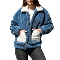 Женские куртки пальто зима повседневная стоимость твердых карманных искусственных меховых пальто варки кардиган свободный свитер молнии осени женские девушки 730
