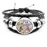 Bracelets de charme Initial / Esotérique Pentagramme Bracelet en cuir noir Vintage Wicca Star Star de la vie Cristal Verre Snap Bracelet1