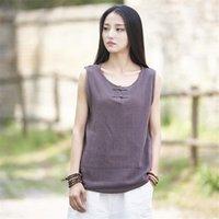 T-shirt das mulheres Johnature Mulheres de algodão camisetas Sem mangas O-pescoço 2021 Verão Vintage Botão 6 Cor Resumo Casual T-shirts1