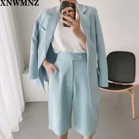 La chaqueta de traje de color sólido de la moda de la moda de ZA, la cintura alta era delgada y sencilla y ancha pantalones cortos de pierna de dos piezas, XNWMNZ 201111