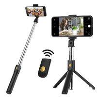 Multifunción K07 Bluetooth Wireless selfie Palo plegable portátil Monopod disparador remoto extensible del trípode para el teléfono inteligente con la caja al por menor