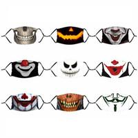 45 Style Dorośli Halloween Usta Maska Dzieci Drukowane Oddychające usta Maska Maska do wielokrotnego użytku z 1 pc2.5 Filtr AAB1035