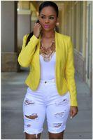 Высокая талия дыра длина колена регулярные тощие шорты женщины чистые цвета шорты женские дизайнерские кнопки летать джинсы шорты
