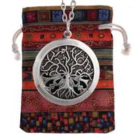 1 Pz Tree of Life Essential Oil Diffuser Locket Collana Collana Collezioni Pendente Collezioni Aroma Gioielli XSH5241