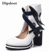 Çizmeler Dipsloot Moda Kadınlar Mavi Sarı Kırmızı Beyaz Patchwork Yuvarlak Ayak Çiçek Dekorasyon Kesilmiş Kaba Topuklu Orta Buzağı Kısa Kısa