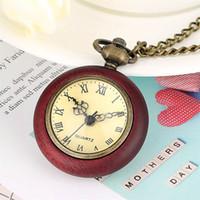 Bolso Velho Madeira Colar relógio para homens Mulheres Movimento Quartz Fob Cadeia Pingente Relógio Reloj Masculino Feminino colares relógios vermelhos pingentes de madeira