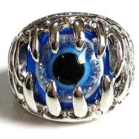 Neue 25 stücke Einzigartige Herren Blau Teufel Eye Silber Ring Demon Evil Gothic Klaue Großhandel Modeschmuck Biker Punk Rocker Stil Mann Ring