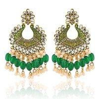 Baumeler Kronleuchter 2021 Ins Jhumki Jhumka Handgemachte Perlenperlen Prägung Grüne Blume Piercing Böhmen Ohrringe Vintage Frauen Partei Juwelier