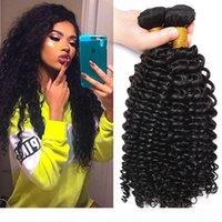 3 stücke los 100% unverarbeitet 7a brasilianische menschliche haarverlängerungen schöne haare weave fepts natürliche farbe tiefe lockige wellenwellige haarbündel