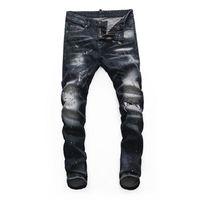 2021ss أحدث الرجال الإيطالي جوفاء جودة عالية جينز الهيب هوب شعار مصمم السراويل الرجال حجم 28-38 نموذج جديد DN318
