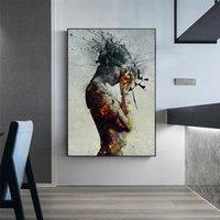 Duvar Posterler Boyama ve Baskı Tuval Kız Otel Ev Dekorasyonu Yemek Modern soyut Duvar Duvar Sanatı Resimleri İçin Salon Dekorasyon alev