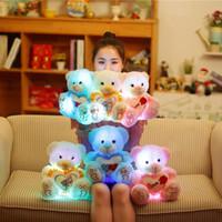 1 pc 25 / 30cm iluminar LED Urso de peluche de pelúcia brinquedo colorido de pelúcia animais brilhando luminosas ursos bonecas travesseiro presentes para crianças meninas brinquedos