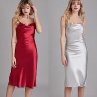 сексуальная Имитация шелк атласной Спагетти ночных рубашки ремень Нарядные Nightgown пижама платье тонких пижамы для женской одежды будет и песчаной новым