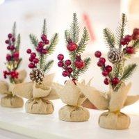 Kitpipi agulhas de pinheiro de Natal mesa de mesa criativo frutas vermelhas pinho cone desktop decoração ornamentos mesa acessórios1
