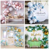 Macaron Balon Zincir Düğün Doğum Günü Partisi Dekorasyon Çocuklar Bebek Duş Balon Garland Kemer Kiti 1st Doğum Günü Balon Mavi Set F1230