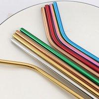 Colorido Aço Inox 304 Straw Set reutilizável Hetero Bent metal Palhinha Com Cleaner jogo de escova Partido Bar Acessório DDA615