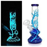 12 Inç Cam Bong El Yapımı Beher Stil Su Borusu Sigara Aksesuarları (Mavi Parlayan Ağaç)