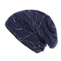 Шапочки / черепные шапки Летние шапочки для женщин хлопок растягивающие тюрбана шляпа тонкий кружевной дышащей крышкой кросс капон Chemo L0406