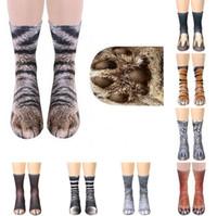 Moda Patrón de piel animal del pie del enganche calcetines de las nuevas mujeres del cerdo 3D gato tigre Impreso Stocking Nueva unisex animal adulto algodón del calcetín