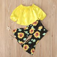 Zwei stück Set Babykleidung Lange Ärmel Trägerloses Oberes Oberes Kleidungsstück Kinder Sonnenblumendruck Bell Bottom Hose Kleidung Anzug 25XN K2