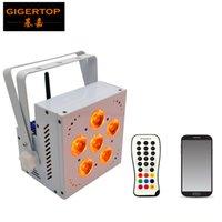TIPTOP 5IN1 Blanca Vivienda 5 RGBWA 15W DMX inalámbrico energía de la batería de Led Flat Par poco / uplights led para fiesta de bodas