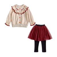 Zebra Original Lembre-se de outono do meninas conjunto saia meninas Cerejas bordados upwear + malha saia duas peças ternos crianças boutique