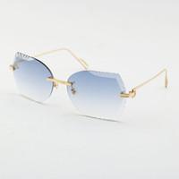 Spedizione gratuita Donne o uomo Occhiali da uomo Unisex Occhiali da sole in metallo METALLO RIMESS INCORDUTO Obiettivo da sole Occhiali da sole 18K Gold Taglio Diamond Taglio occhiali Nuovo