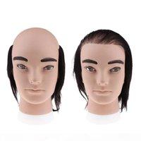 2 çeşit 7.9 inç Kozmetoloji erkek manken kafa ile gerçek insan saçı ile berber dükkanlar için styling kesme dokuma pratik