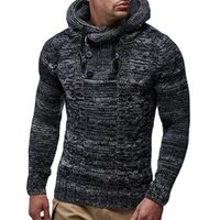 Men' s Hoodie Winter Men Warm Hooded Knitted Fashion Pul...