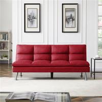 US Stock Wohnen Wohnzimmermöbel Relax Lounge Futon-Schlafsofa Schlafer rotes Gewebe Folding Schnelle Lieferung