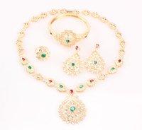 Nueva multicolor cristalino del oro-color de la joyería La joyería pendientes del collar de la pulsera del anillo de accesorios de moda de las mujeres africanas Europea