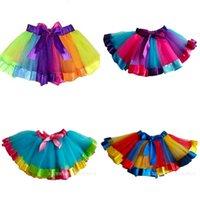 Bambini Rainbow Tutu Abiti Nuovi Bambini Newborn Lace Princess Gonna Pettiskirt Ruffle Ballet Dancewear Gonna Hollowen Abbigliamento HH-S29 330 K2