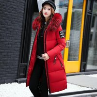 women 7 colors hooded long parkas plus size with fur collar ...
