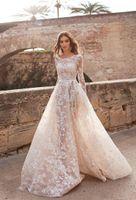 Плюс размер линии свадебные платья свадебные платья свадебные платья совок шеи с длинным рукавом кружева Abiti da Sposa Custom Illusion свадебное платье