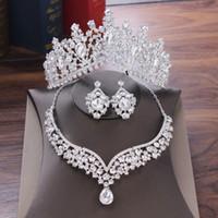 Kristall Wassertropfen Brautschmuck Sets Strass Tiaras Krone Halskette Ohrringe für Braut Hochzeit Dubai Schmuck Set