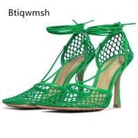 Vestido sapatos romance malha verde sandálias mulheres dedo do pé quadrado preto amarelo couro cinta alto salto alto mulher sexy festa sapatos1