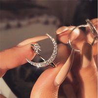 Monili di moda classica 925 sterling silver sterling pavy bianco chiaro 5a zirconia cubica aprendo le donne regolabili da sposa stella di nozze anello luna 122 o2