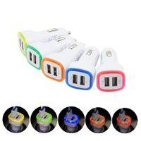Portos USB duplos LED Adaptador de Carregador de Carro Luz Adaptador Universal 5V 2.1A para iPhone Samsung S10 HTC LG Telefone celular