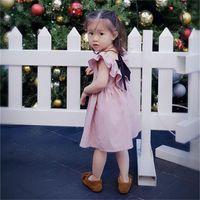 아기 소녀 공주 드레스 솔리드 컬러 백리스 활 주름 칼라 무릎 길이 아이 의류 여름 귀여운 아이 드레스 11YS L2
