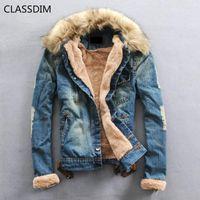 Мужские куртки Classdim Мужчины толще теплые джинсовые пальто случайные джинс зимняя мода jena1