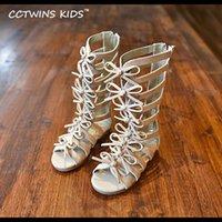 CCTWINS KIDS 2020 Summer Baby Girl из натуральной кожи Колена высокого Гладиатор Сандал Kid Мода Детей Пляж Узелок Черной Чистка B414